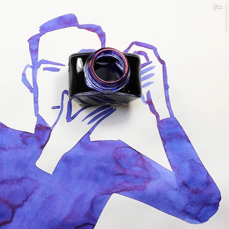خلاقیت هنری با جوهر و کاغذ