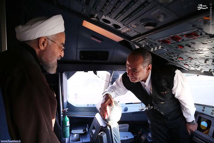 عکس/ روحانی در کابین خلبان