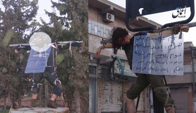 داعش 2نفر را درحلب به صلیب کشید+عکس