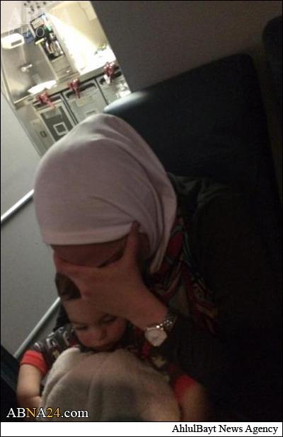 تحقیر یک زن مسلمان در هواپیمای آمریکایی +عکس