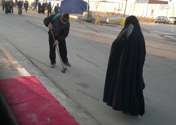 عکس/جاروکشی شهید در پیاده روی اربعین