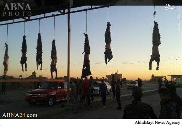 خوش آمدگویی داعش با اجساد قربانیان+ تصاویر