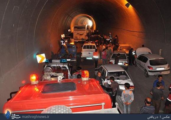 برخورد 10 خودرو در تونل بجنورد