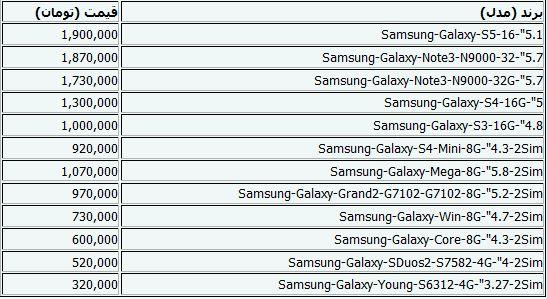 جدیدترین قیمت موبایل+جدول
