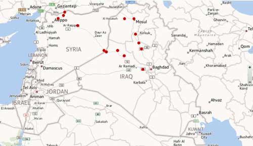 مناطق مورد اشغال داعش در سوریه و عراق