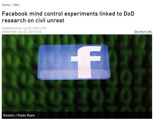 اعضاء فیس بوک، موش های آزمایش های روانی پنتاگون// در حال ویرایش