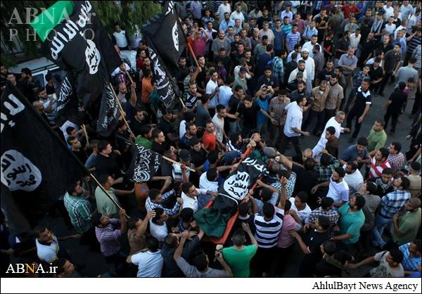 فلسطینیهایی که با پرچم داعش تشییع شدند + تصاویر