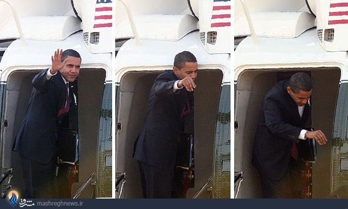 عکس/ برخورد سر اوباما به در هلیکوپتر
