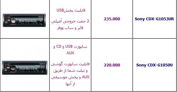 قیمت انواع ضبط ماشین +جدول
