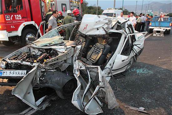 مچاله شدن پراید پس از تصادف با خاور+عکس