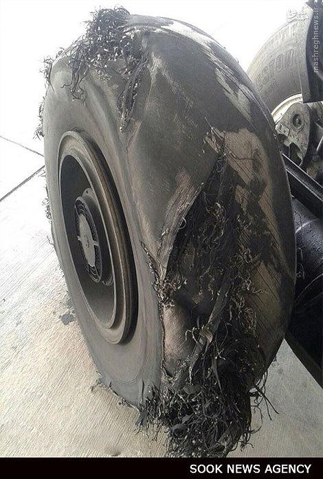 تصویر/ترکیدن لاستیک هواپیما در فرودگاه عسلویه