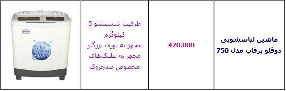 جدول/قیمت انواع ماشین لباسشویی ایرانی