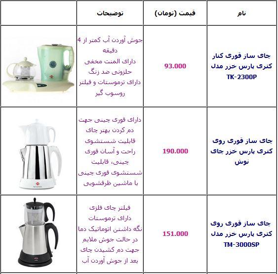 آخرین قیمت انواع چای ساز +جدول