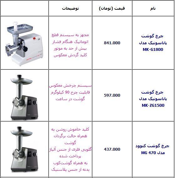 قیمت چرخ گوشت
