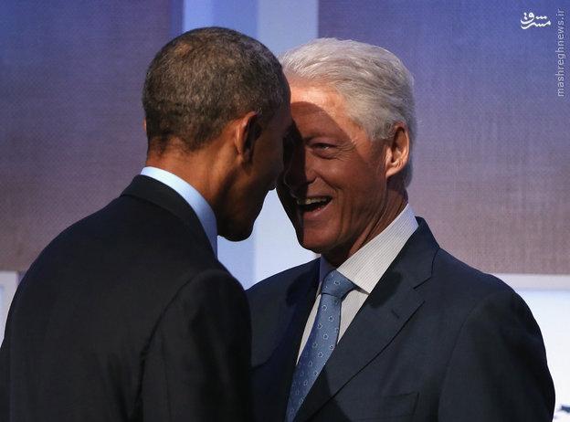 عکس/شاخبهشاخ اوباما و کلینتون