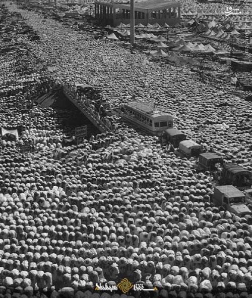 عکس تاریخی از نماز جماعت در مشعرالحرام