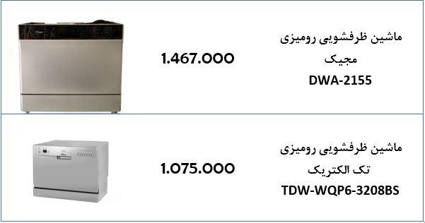 قیمت ماشین ظرفشویی رومیزی