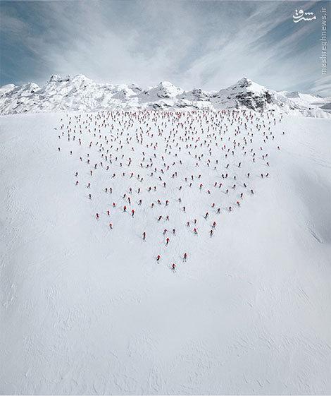 هنرمندی کوهنوردان و اسکی بازان در کوه های آلپ