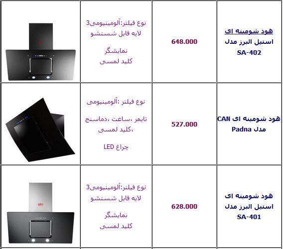 قیمت انواع هود آشپزخانه
