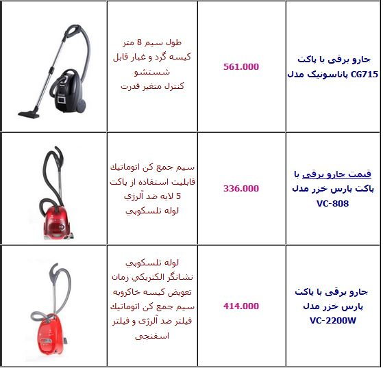 قیمت جاروبرقی خانگی