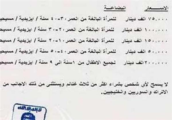 قیمت فروش دختران و زنان از سوی داعش! +تصویر