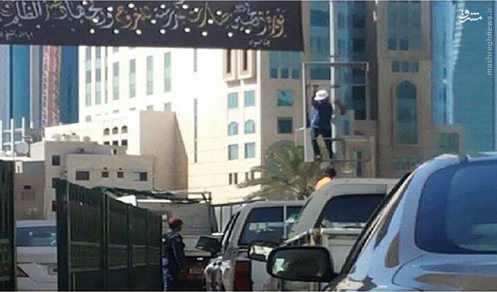 عکس/مامورانی که سیاهههای حسینی را پایین کشیدند