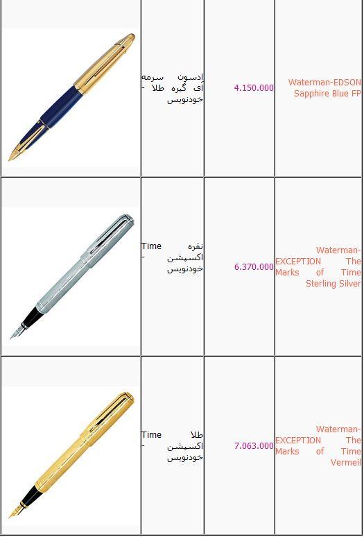 خودنویسهای میلیونی در تهران+ جدول قیمت