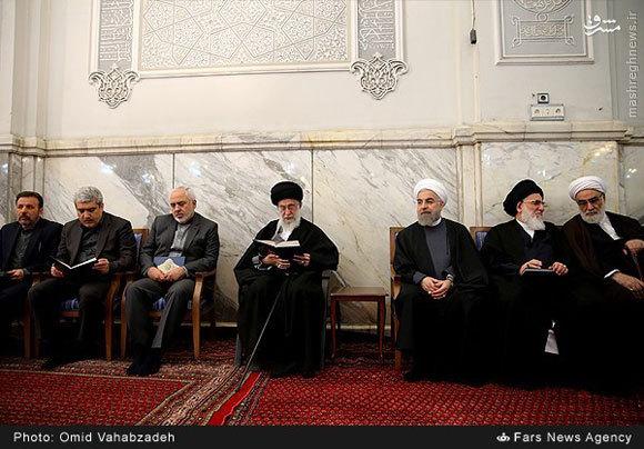 حضور رهبر انقلاب در مراسم ترحیم والده رئیسجمهور +تصاویر