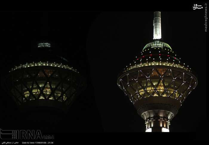 عکس/ تاثیر ساعت زمین بر روی برج میلاد