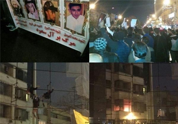 کنسولگری عربستان در مشهد به آتش کشیده شد +عکس