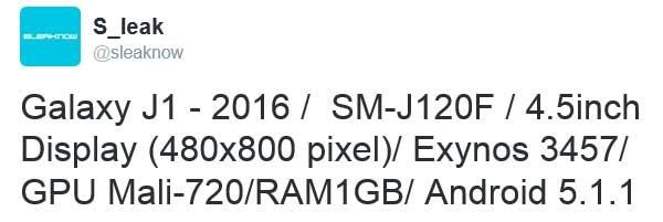 مشخصات گلکسی J1 نسخه 2016 لو رفت +عکس