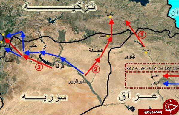 مسیرهای ترانزیت نفت داعش +نقشه و جزیئات
