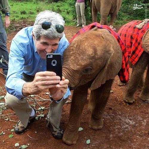 عکس/ سلفی جان کری با بچه فیل