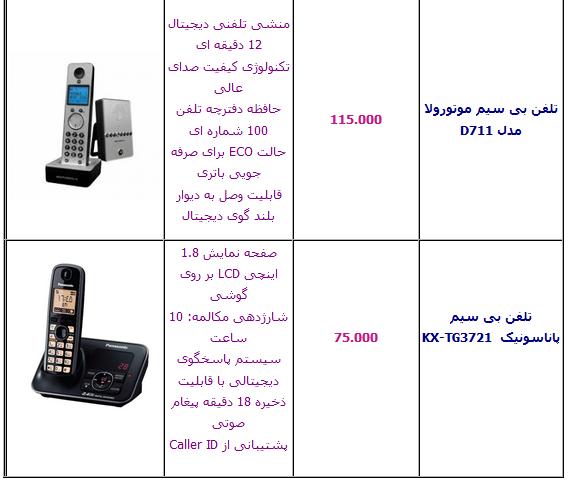 جدول/ قیمت انواع تلفن بی سیم