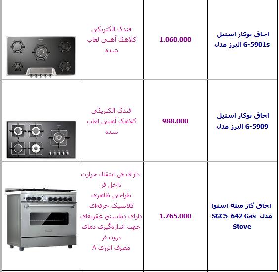 جدول/  قیمت انواع اجاق گاز ایرانی