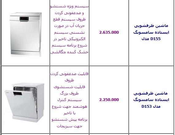 قیمت آخرین مدل ظرفشویی ال جی