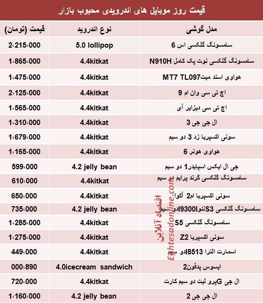 جدول/ قیمت موبایلهای اندرویدی پرطرفدار