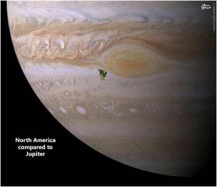 برای درک هرچه بهتر اندازه زمین و مقایسه آن با سیارات دیگر منظومه شمسی، در تصویر زیر لکه سبز رنگ آمریکای شمالی را روی سیاره مشتری نشان میدهد (آمریکای شمالی در مقایسه با مشتری)