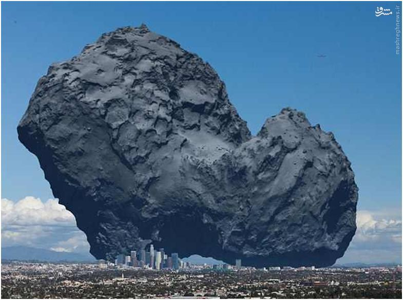 مقایسه یک تکه شهاب سنگ با شهر لس آنجلس در آمریکا