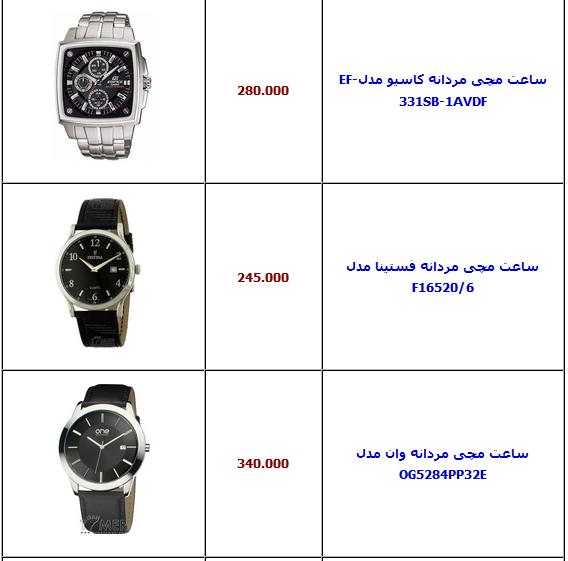 جدول/ قیمت انواع ساعت مچی مردانه