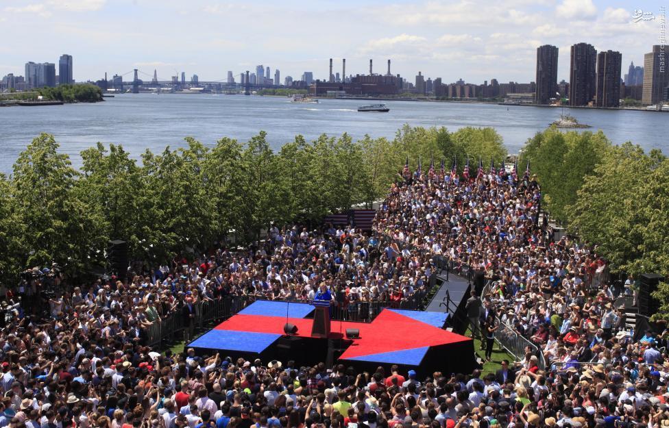 (تصاویر) اولین کمپین انتخاباتی هیلاری کلینتون