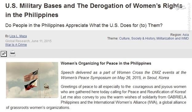 پایگاههای نظامی آمریکا و وخامت حقوق زنان در فیلیپین