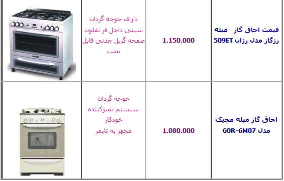 جدول/ آخرین قیمت انواع اجاق گاز ایرانی