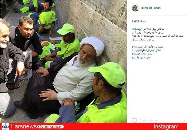 عکس / گپ شیخ حسین انصاریان با رفتگران