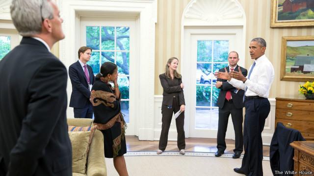 اوباما هنگام دریافت خبر توافق + عکس