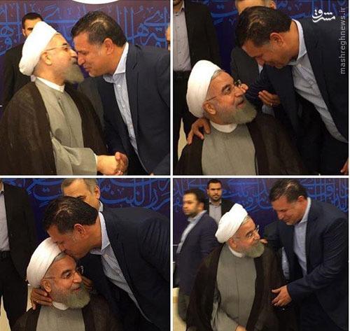 بوسه دایی بر پیشانی حسن روحانی (عکس)