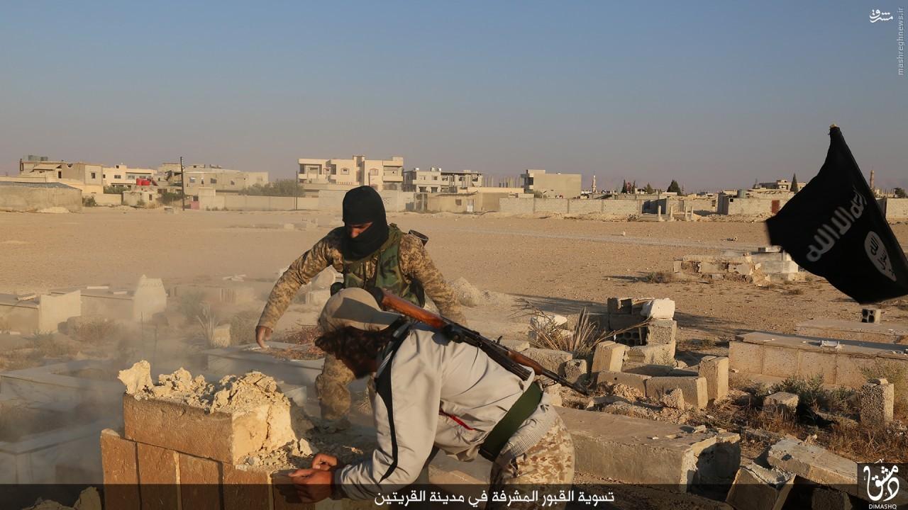 تخریب قبور در قریتین توسط داعش+تصاویر