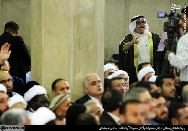 عکس/ شعرخوانی مداح معروف قطری در بیت رهبری