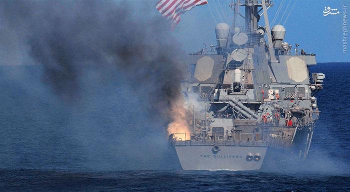 عکس/ انفجار موشک بر فراز ناو آمریکایی