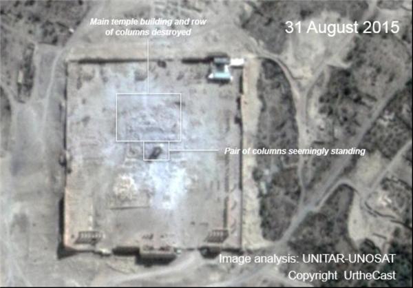 تصاویر ماهوارهای تخریب بزرگترین معبد «پالمیرا»